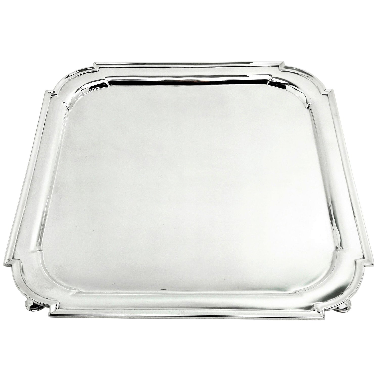 Antique Sterling Silver Salver 1903 Square Waiter Tray Platter