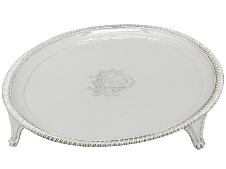 English Antique Sterling Silver Salver, George IV, 1823 For Sale