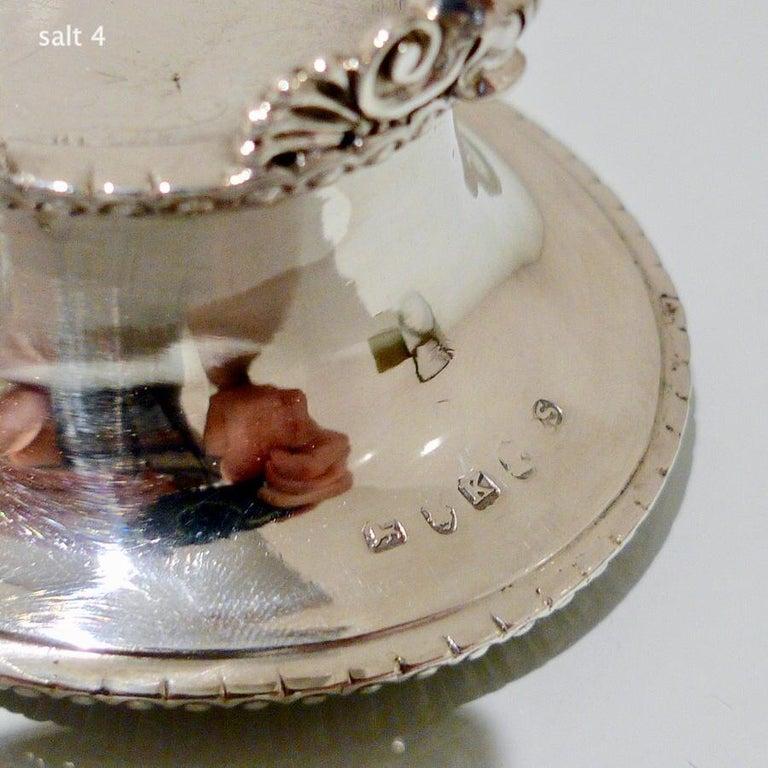 Antique Sterling Silver Set Four Oval Salt Cellars London 1805 Paul Storr For Sale 2