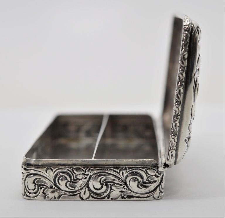 Art Nouveau Antique Sterling Silver Snuff Box For Sale