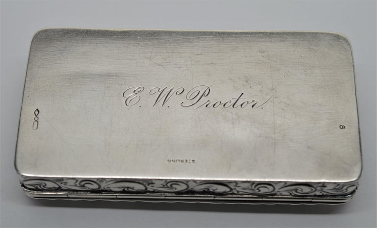 Antique Sterling Silver Snuff Box In Good Condition For Sale In Mount Kisco, NY