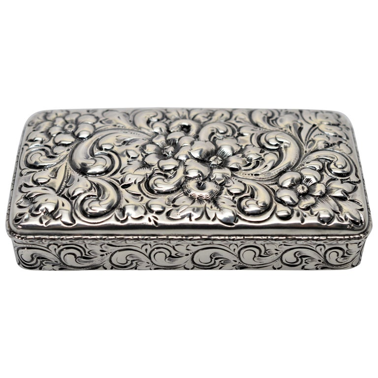 Antique Sterling Silver Snuff Box For Sale