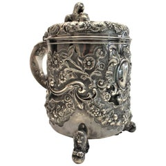 Large Antique Sterling Silver Tankard Ice Bucket with Figural Lion Accents