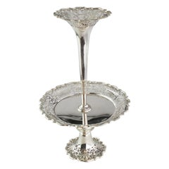Antique Sterling Silver Tazza Dish with Vase, Walker & Hall, Sheffield, 1904