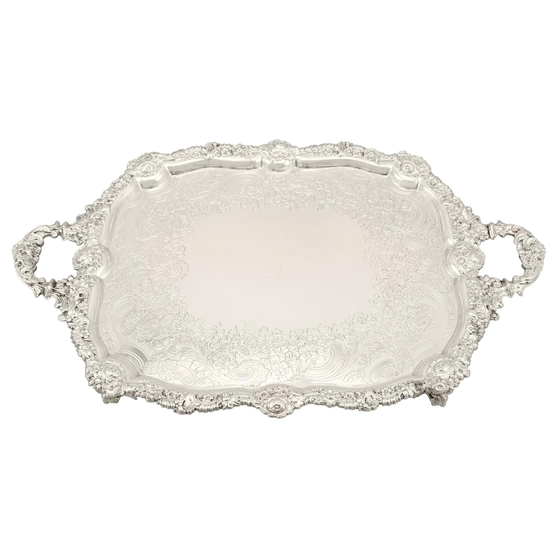 19th Century Antique Sterling Silver Tea Tray 1824