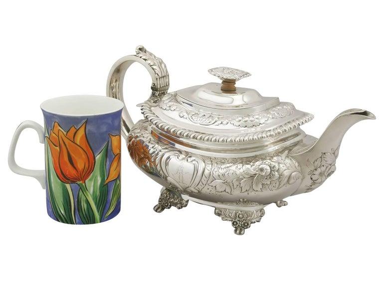 George IV Antique Sterling Silver Regency Three-Piece Tea Service by Charles Thomas Fox