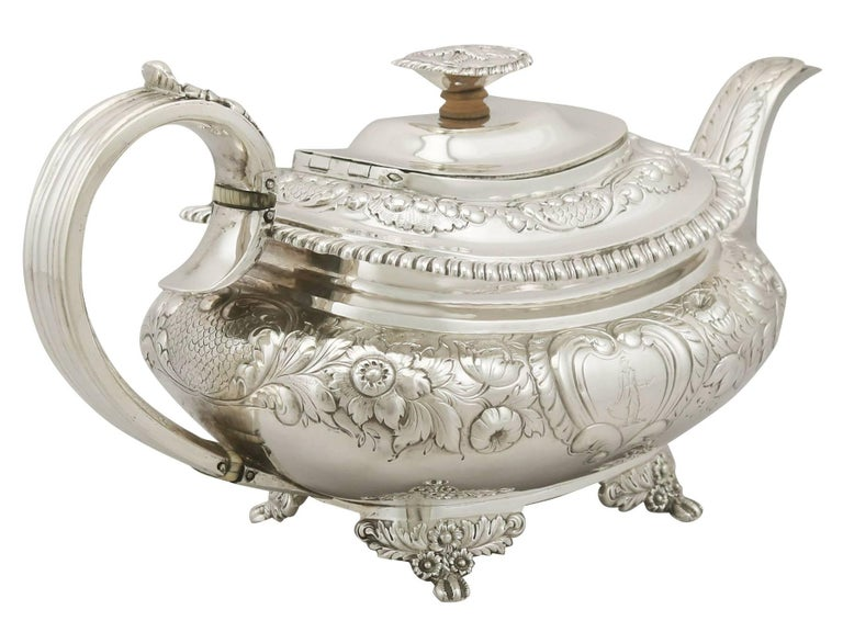 Antique Sterling Silver Regency Three-Piece Tea Service by Charles Thomas Fox In Excellent Condition In Jesmond, Newcastle Upon Tyne