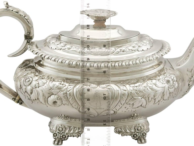 Early 19th Century Antique Sterling Silver Regency Three-Piece Tea Service by Charles Thomas Fox