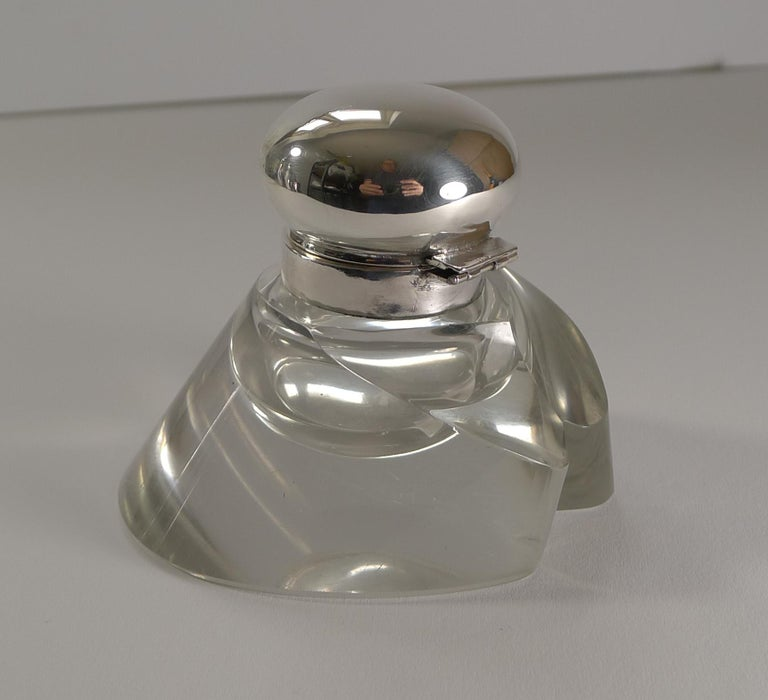 Edwardian Antique Sterling Silver Topped Horse Hoof Inkwell, 1903 For Sale