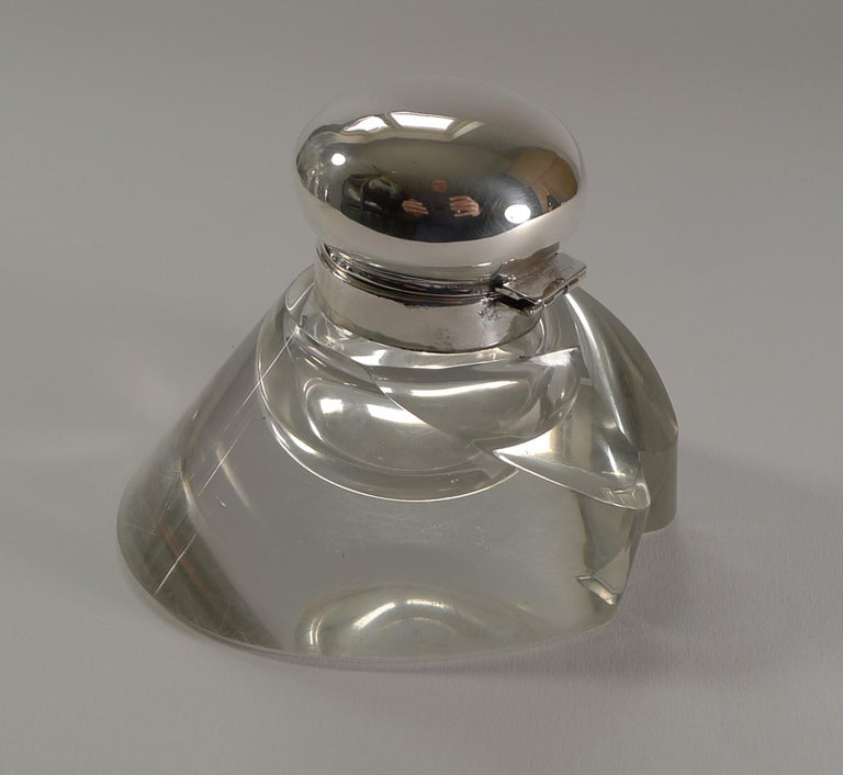 Early 20th Century Antique Sterling Silver Topped Horse Hoof Inkwell, 1903 For Sale