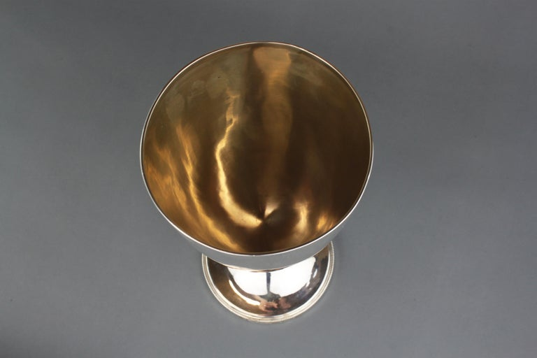 British Antique Sterling Silver Very Large Goblet, London 1909, James Dixon & Sons Ltd For Sale