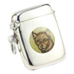 Antique Sterling Silver Vesta Case with Enamel Portrait of Dog, W J Myatt & Co