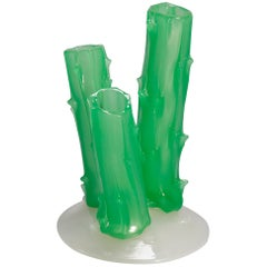 Antique Steuben Carder Jade Green Art Glass 3-Prong Trunk Vase, circa 1920