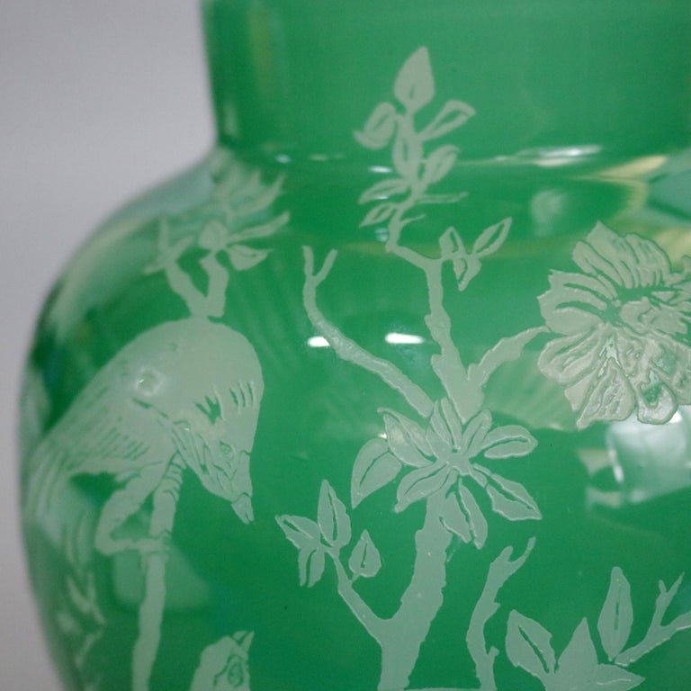 American Antique Steuben Jade Green Cut Back Asian Style Bird and Floral Vase, circa 1930 For Sale