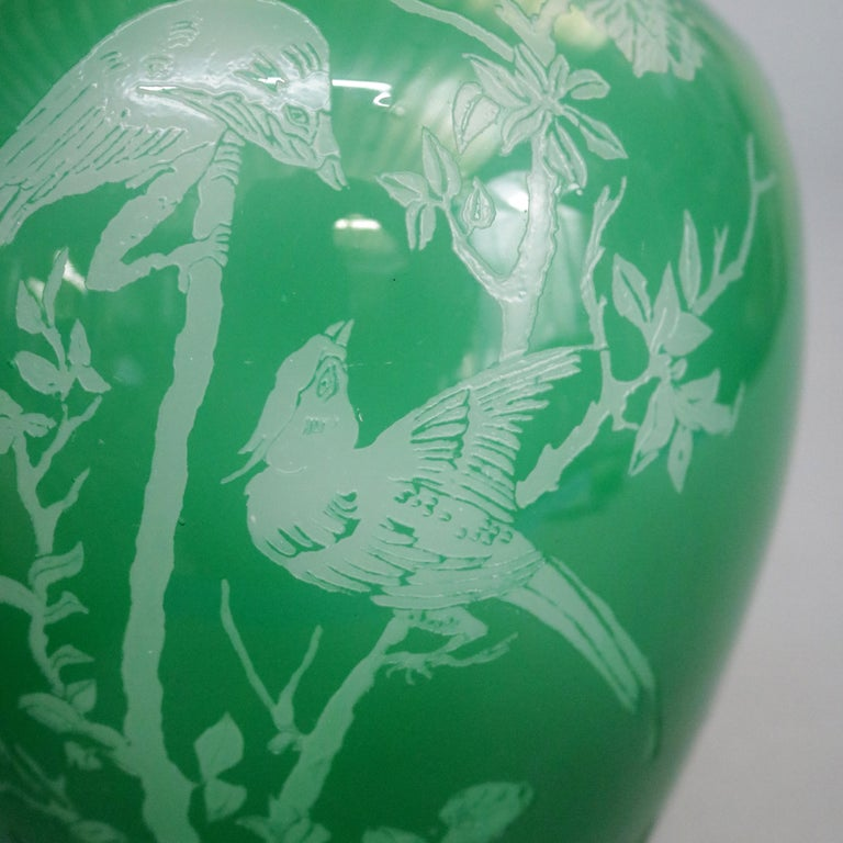 Hand-Crafted Antique Steuben Jade Green Cut Back Asian Style Bird and Floral Vase, circa 1930 For Sale