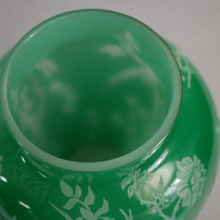 Antique Steuben Jade Green Cut Back Asian Style Bird and Floral Vase, circa 1930 In Good Condition For Sale In Big Flats, NY