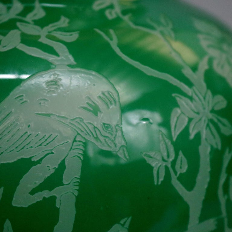20th Century Antique Steuben Jade Green Cut Back Asian Style Bird and Floral Vase, circa 1930 For Sale