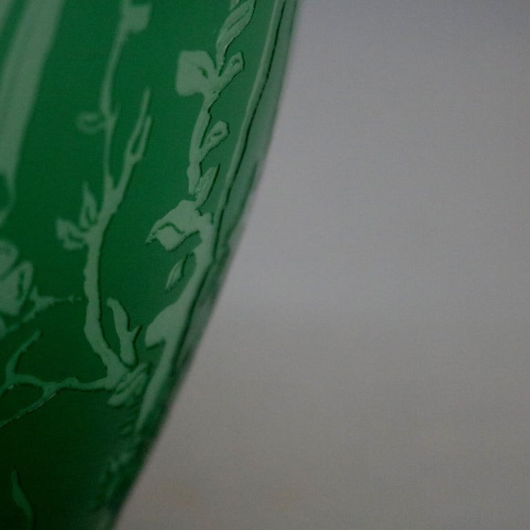 Art Glass Antique Steuben Jade Green Cut Back Asian Style Bird and Floral Vase, circa 1930 For Sale