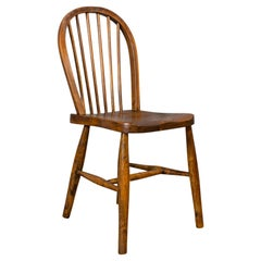 Antique Stick Back Chair, English, Elm, Beech, Station Seat, Victorian