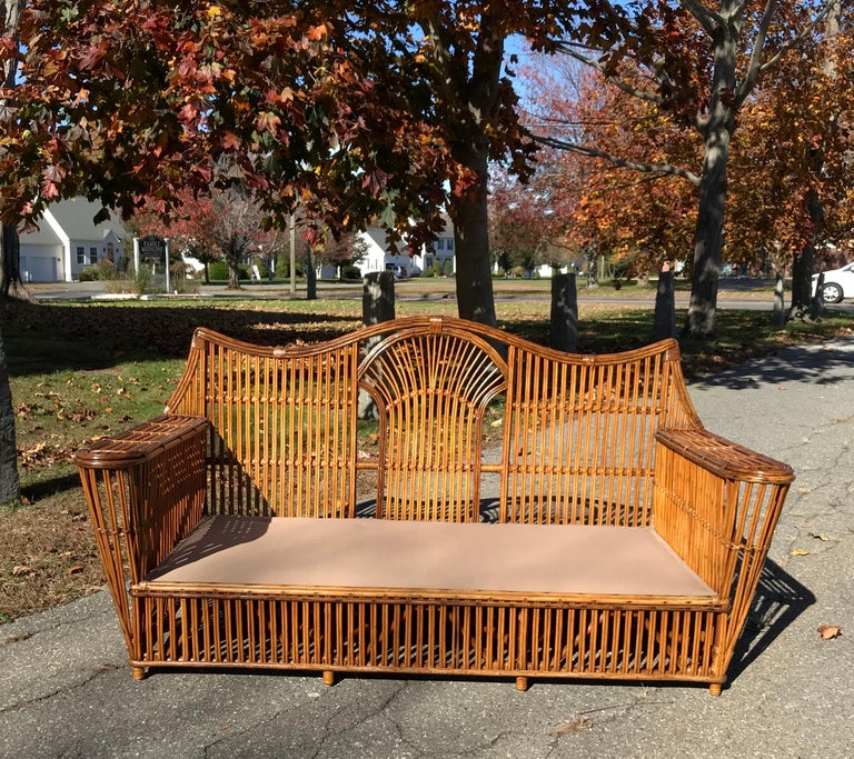 Hand-Crafted Antique Stick Rattan Set For Sale