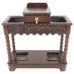 Antique Stick Stand, Carved Tiger Oak Umbrella Hall Stand, Scotland 1880, B1800