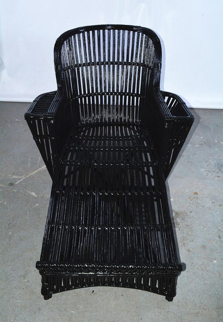 Art Deco Antique Stick Wicker Chaise For Sale