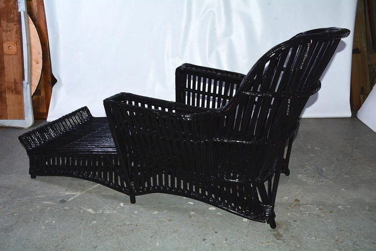 American Antique Stick Wicker Chaise For Sale