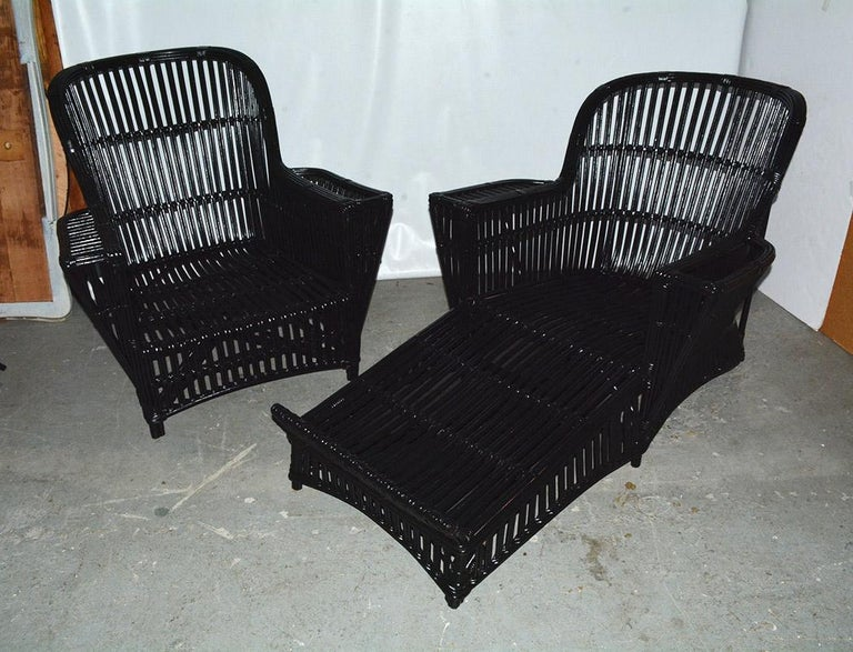 Antique Stick Wicker Chaise Lounge And Matching Chair For