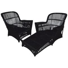 Antique Stick Wicker Chaise Lounge and Matching Chair