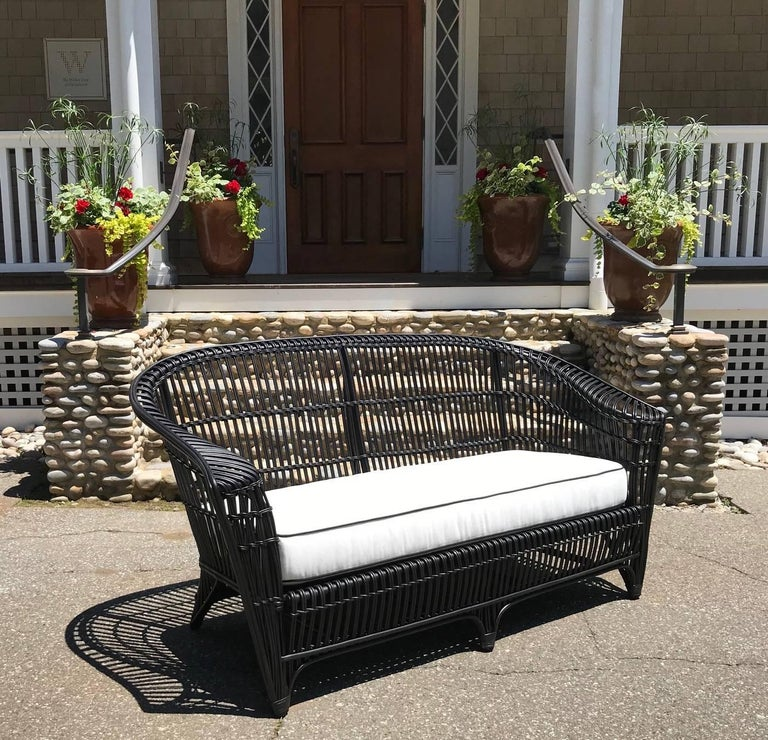 Hand-Woven Antique Stick Wicker Set For Sale