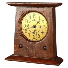 Antique Stickley Arts & Crafts Mission Oak Mantel Clock, 20th Century