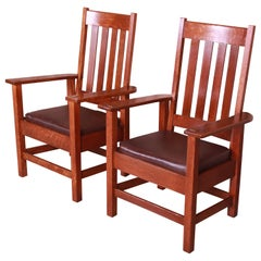 Antique Stickley Brothers Oak and Brown Leather High Back Lounge Chairs, Pair