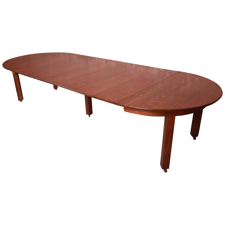 Antique Stickley Mission Oak Arts & Crafts Extension Dining Table, Restored