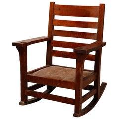 Antique Arts & Crafts Gus Stickley Mission Oak Rocking Chair, circa 1910