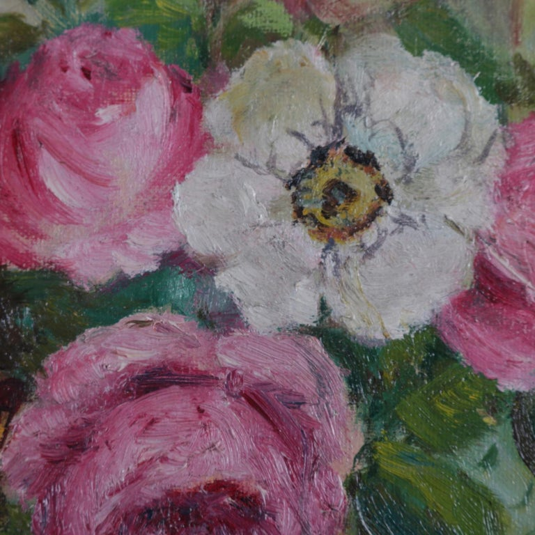 Victorian Antique Still Life Oil on Canvas Floral Bouquet in Deep Walnut Frame, circa 1890 For Sale