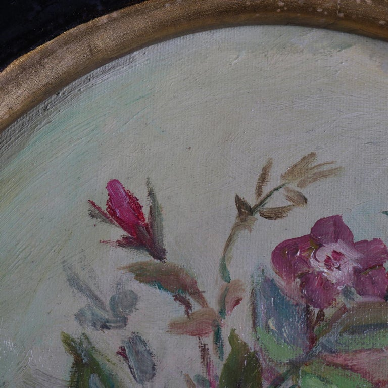 American Antique Still Life Oil on Canvas Floral Bouquet in Deep Walnut Frame, circa 1890 For Sale