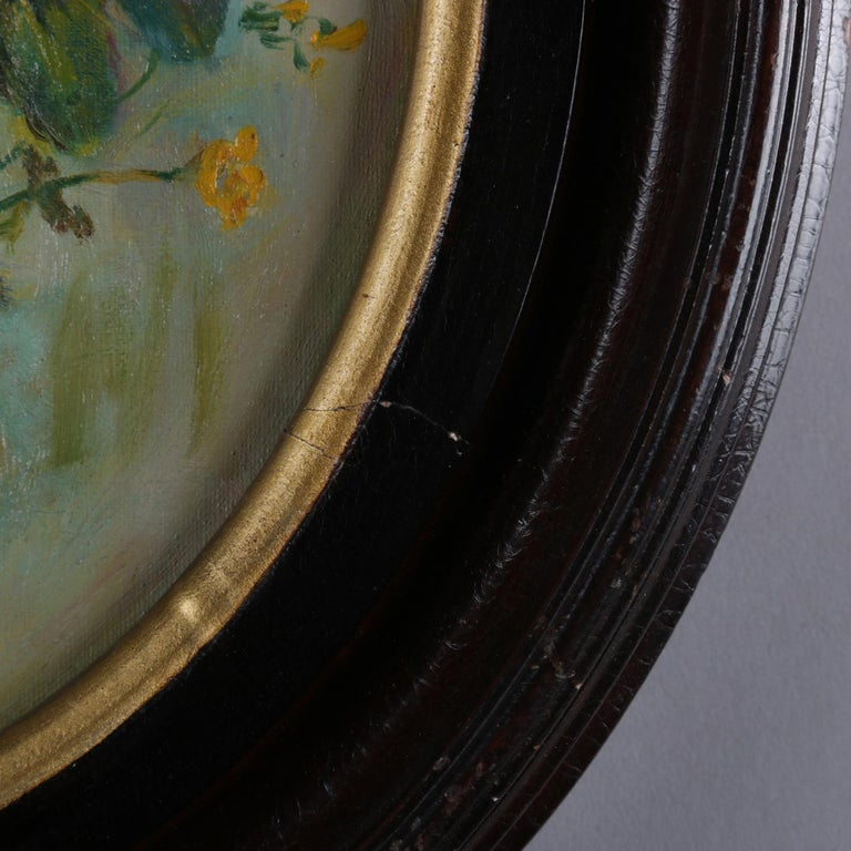 Gilt Antique Still Life Oil on Canvas Floral Bouquet in Deep Walnut Frame, circa 1890 For Sale