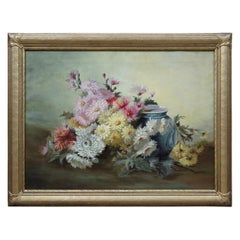 Antique Still Life Oil Painting Peony Flowers and Vase Victorian Realism Framed