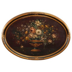 Antique Still Life Oval Oil Painting Canvas Laid on Board, Circa 1930