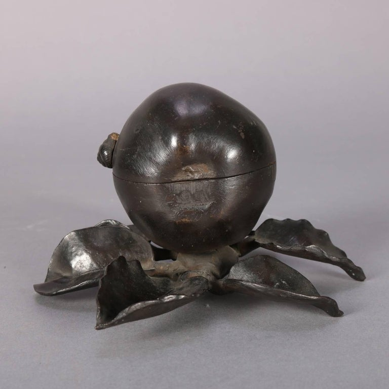 Antique Still Life Pair, Branch and Snail Bronzed Figural Cast Inkwell In Good Condition For Sale In Big Flats, NY