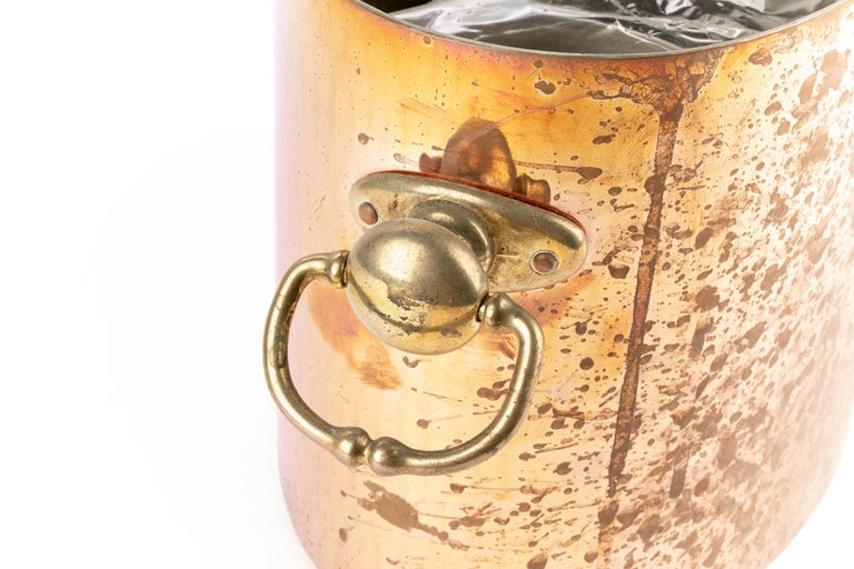 Hollywood Regency Antique STL French Copper Oval Ice Bucket For Sale