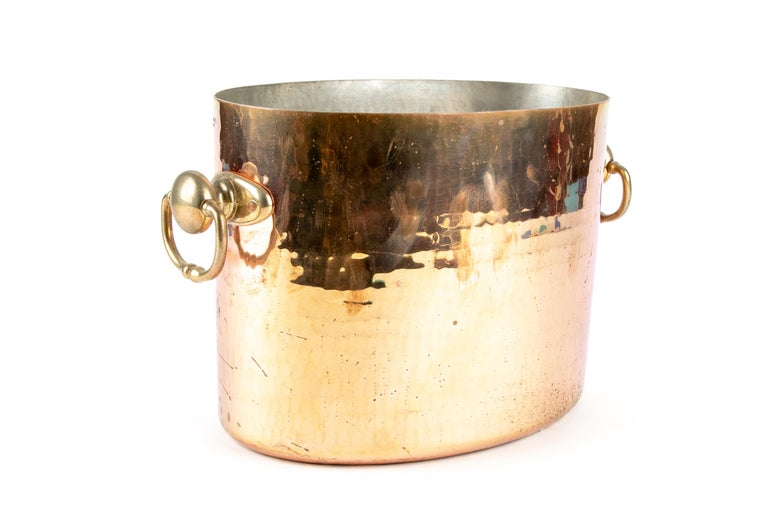 Hammered Antique STL French Copper Oval Ice Bucket For Sale