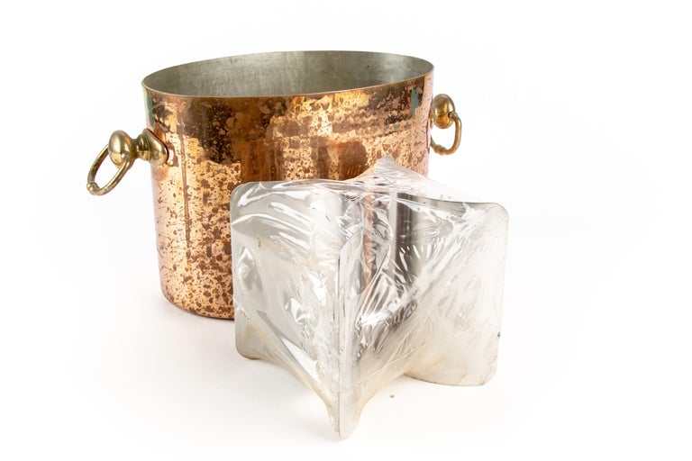 Antique STL French Copper Oval Ice Bucket In Good Condition For Sale In Bridgeport, CT