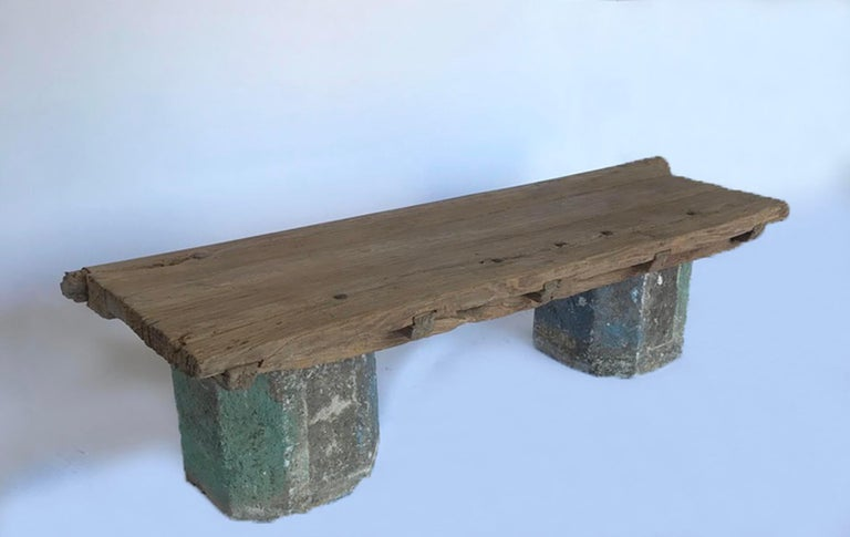 Antique Stone Base and Elm Door Bench For Sale 4