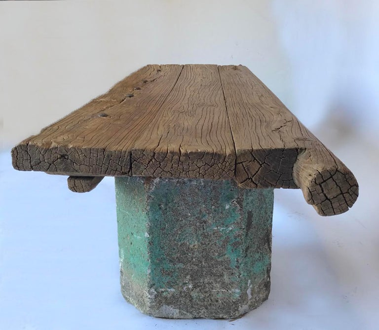 Antique Stone Base and Elm Door Bench For Sale 6