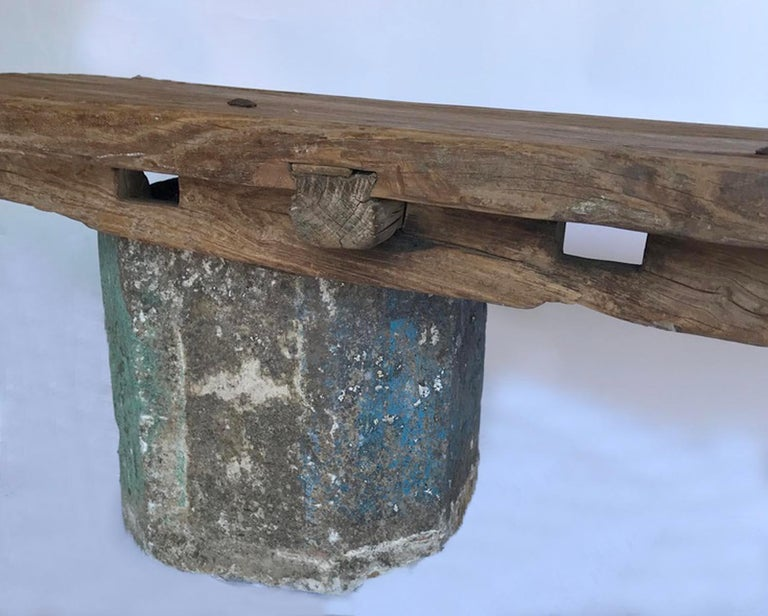 Rustic Antique Stone Base and Elm Door Bench For Sale