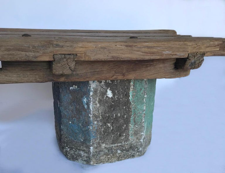 Japanese Antique Stone Base and Elm Door Bench For Sale