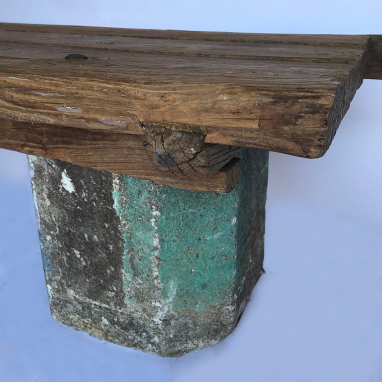 Antique Stone Base and Elm Door Bench In Good Condition For Sale In Los Angeles, CA