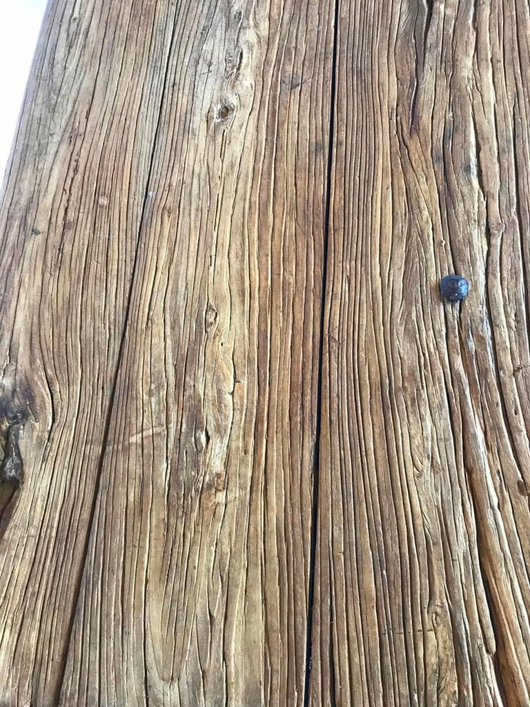 Antique Stone Base and Elm Door Bench For Sale 1