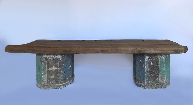 Antique Stone Base and Elm Door Bench For Sale 2